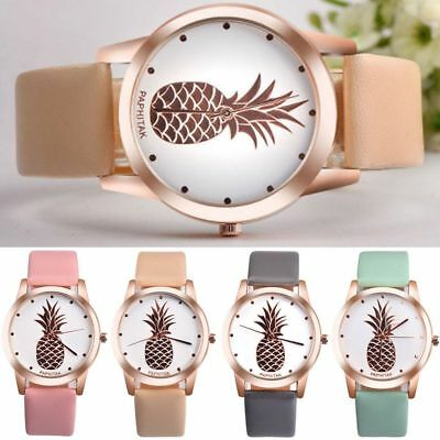 Casual Rose Gold Pineapple Watch Quartz Faux Leather Band Analog Dial