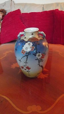 Antique Satsuma Blue Hand Painted  With Cherry Blossom Signed Japanese Vase.