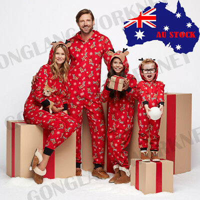 AU Family Matching Xmas Pajamas Set Women Kids Adult PJs Sleepwear Nightwear