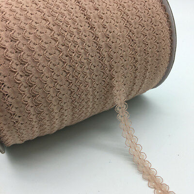 "10yds 5/8"" 15mm Khaki Bilateral Handicrafts Embroidered Net Lace Trim Ribbon"