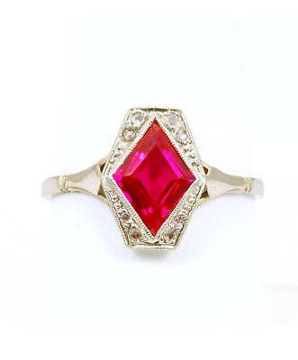 French Art Deco 18K Gold Platinum Red Diamond Ruby Playing Cards Game Ring US 9