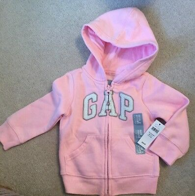 BNWT New Baby GAP Pink Girls Zip Hooded Sweatshirt Hoodie 12-18 Months From USA