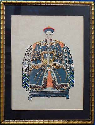 Antique Embroidery / Needlepoint Portrait of Bogd Khan Emperor of Mongolia