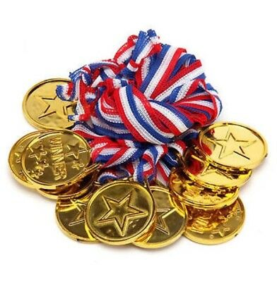 48x Children Gold Plastic Winner Medals Sports Day Party Bag Prize Awards Toys