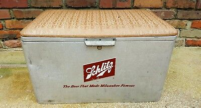 Vtg Antique 1960s Schlitz Beer Advertising Aluminum metal Cooler Padded Seat Lid