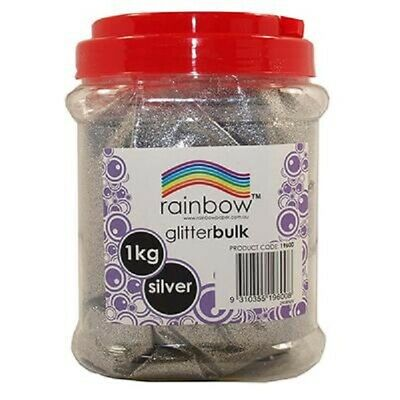 Silver Fine Glitter Bulk 1Kg In Jar Rainbow - Free Post