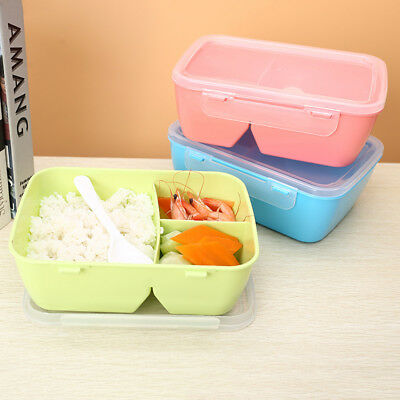 Portable Microwave Lunch Box Picnic Bento Food Container Storage + Spoon Tool #