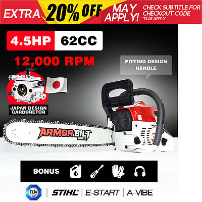 "NEW ArmorBilt 62cc Petrol Commercial Chainsaw 20"" Bar E-Start Pruning Chain Saw"