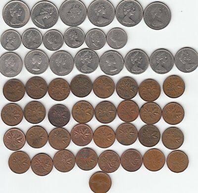 Large Lot of old Canadian Quarters, Dimes, Nickels, and Pennies 53 coins
