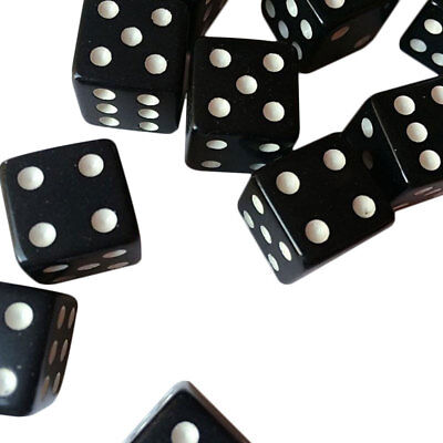 10pcs Dice Dices Gaming Standard Six Sided Square 12mm Black With White Pips