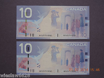 Canada -2005 2X $10   Rare-Same Numbers-Different Prefix And Sign  Gem Unc