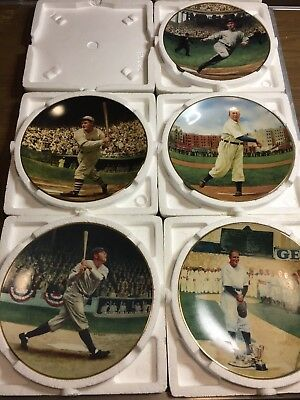 5 Legends of Baseball Limited Edition Plates- Ruth, Cobb, Gehrig, Hornsby, Young