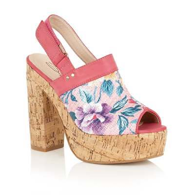 912df44081a428 Dolcis Viennese Summer Holiday Floral Detail Cork Heeled Sandal Pink Uk 4