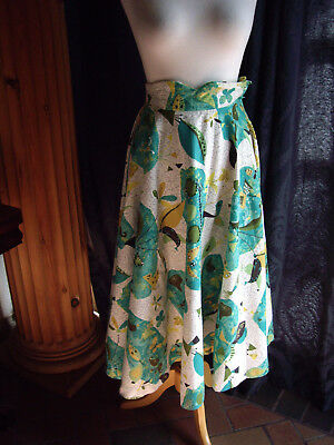 Vintage 50s Circle Skirt EMBELLISHED bark cloth ATOMIC abstract floral OOAK
