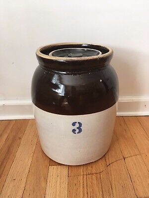 Antique Vintage 3 Gallon Lidded Stoneware Crock Brown and Cream