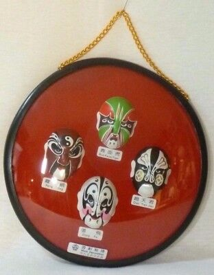 4 Facial Types of Chinese Opera in Framed Hanging Box
