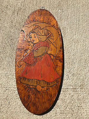 Antique PYROGRAPHY FLEMISH DUTCH GIRL WITH UMBRELLA PLAQUE CARVED & BURNED