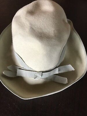 Vintage French Art Deco Period Woman's Felt Hat with Silk Ribbon Band