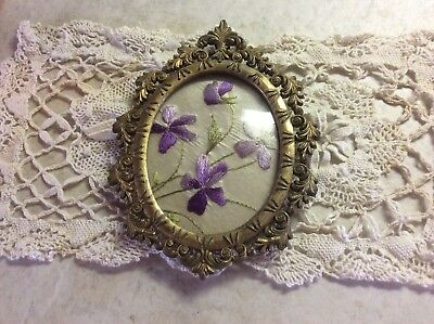 Antique Silk Embroidery on Silk In Brass Frame with Glass, MINT!