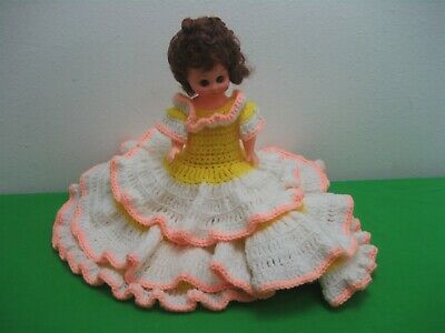 """Vintage 13"""" Southern Sweetheart Doll 3 Tiered Full Knitted White & Yellow Dress"""
