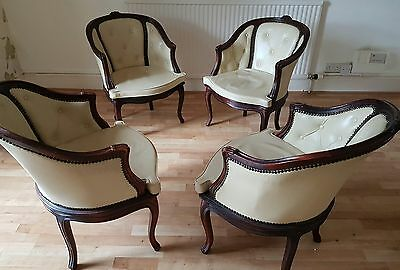 4 x Vintage French Style leather tub chairs 1980s