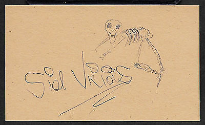 Sid Vicious Sex Pistols Autograph Reprint Appears Authentic On Old 3x5 Card
