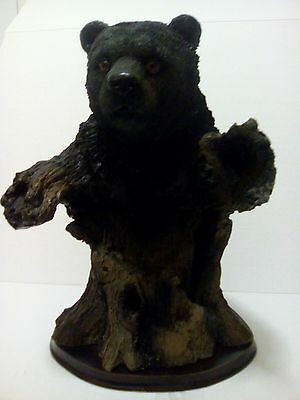 "Hand Carved Bear Statue Coming out of Tree Trunk 13"" Very Uniquely Designed"