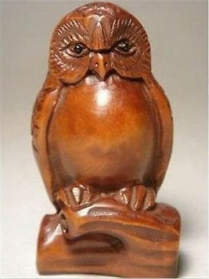 Japanese boxwood wood netsuke owl figurine