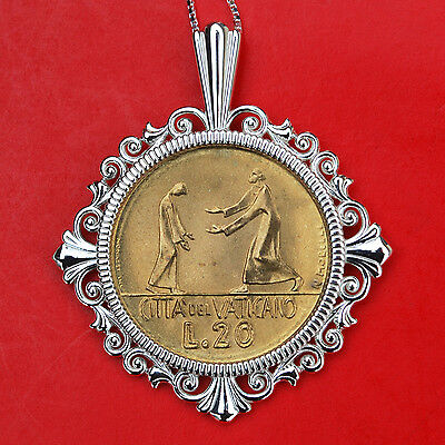 1978 Vatican 20 Lire BU Coin 925 Sterling Silver Necklace - Prodigal Son Parable