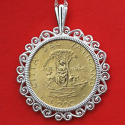1987 Vatican 200 Lire BU Coin Mary Queen of Peace Solid Sterling Silver Necklace