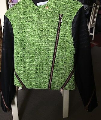 Finders Keepers Green Black Leather Sleeved Jacket Size S Rrp$229.95