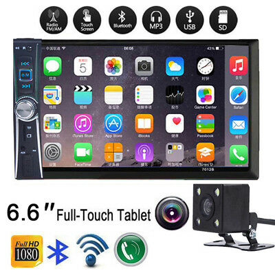 6.6'' HD Bluetooth Touch Screen Car Stereo Radio 2DIN FM/MP5/USB/AUX with Camera
