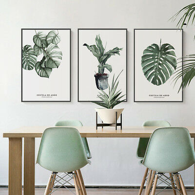 Watercolor Plants Leaves Canvas Art Vintage Poster Prints Home Wall Decoration