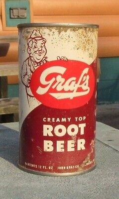 1960's Straight Steel Graf's Creamy Top Root Beer Soda Flat Top Can