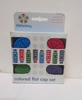 VERY RARE!  Lifefactory Colored Flat Cap for Bottles - Set of 4 - BRAND NEW!
