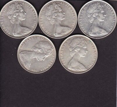 1966 round fifty cent coins x 5