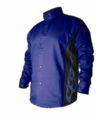BSX Flame-Resistant Welding Jacket - Blue with Blue Flames, Size 2X-Large