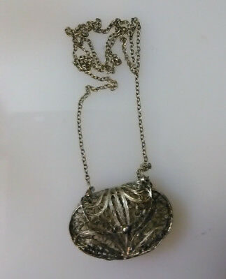 Antique Filigree Silver Miniature Purse Hand bag With Chain
