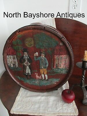 Antique 1700 Folk Art Paint Decorated Wine Festival Celebration Cask Keg Barrel