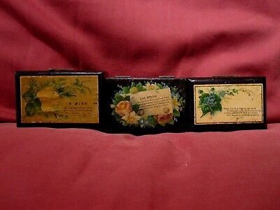 Three Wonderful Antique C.1890 Mauchline Black Lacquer Ware Trinket Boxes