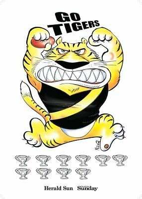 2017 Macca Footy Final Premiership A2 Glossy Poster Richmond Tigers Herald Sun