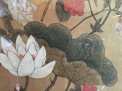 A Large Chinese Antique Painting on Silk, Framed.