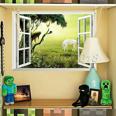 Funny 3D Window Jungle Scenery Wall Decal Living Room Home Decor Mural Wallpaper