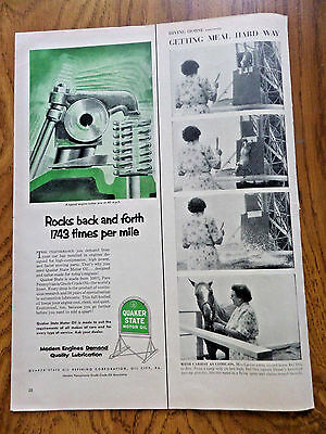 1953 Quaker State Motor Oil Ad  Typical Engine Rocker Arm 1743 times per Mile