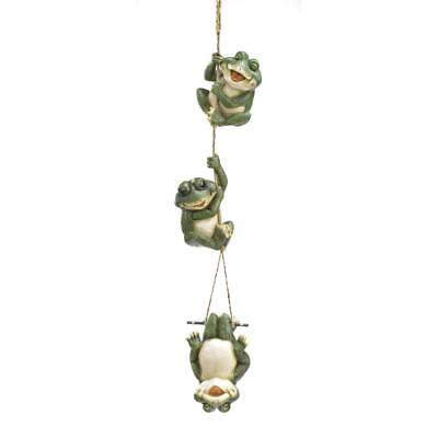Three Frolicking Frogs Hanging on Rope Garden Decor