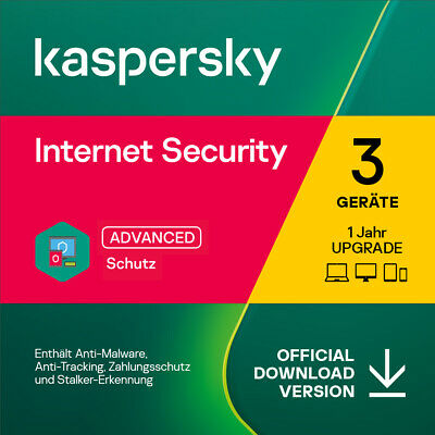 Kaspersky Internet Security, Upgrade, 3 Geräte, 1 Jahr, Download  2019