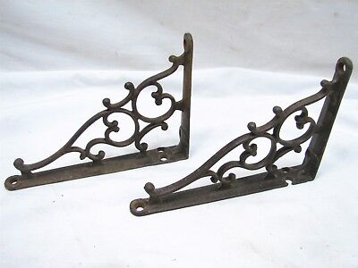 Pr Antique Cast Iron Ornate Scroll Work Shelf Brackets Garden Decor Mantle Brace