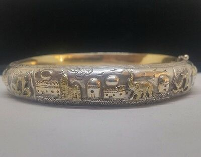 Rare Antique Indian Silver Islamic Bangle Gilt Detail with Elephants and Script