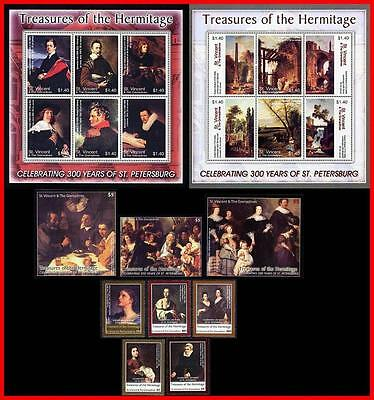 famous PAINTINGS / HERMITAGE x34 ITEMS Cat.$163.00 = COMPLETE COLLECTION MNH
