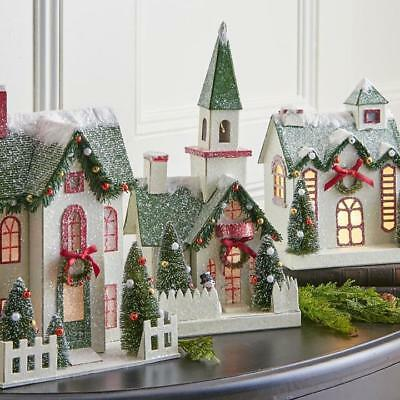 NEW Raz Battery Operated Lighted Christmas Houses or Church Figures
